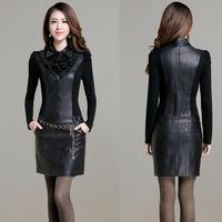New Autumn 2014 Sexy Women Clubwear PU Dress Leather Long Sleeve Party Midi Winter Dress For Ladies Slim Plus Size Black Dress