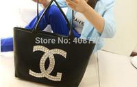 HOT 2014 women messenger bag fashion women handbag double cc bag set auger fashion leisure shoulder bag handbag
