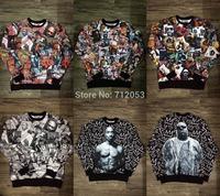 2014 New Hiphop star men HBA 1991 inc 3d biggie tupac 2pac Sweatshirt Jordan leather sleeve Hoodie Sup Bitch KTZ Sweatshirt