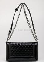 Vintage Quilted Chain Luxury Boy Bag Black White Crossbody Shoulder Bag Handbag