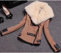2014 Autumn Winter Women Coat Woolen Down Jacket casual Casacos black fashion Rabbit Fur Coat Plus Size Outerwear Overcoat