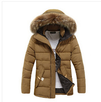 Men Down Coat Winter Slim Fleece Casual Hooded Parka Brand Design Fashion Snow Warm Cotton Windproof Thickening Fit Jacket D1006