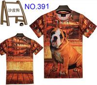 new Fashion men's clothing creative print mens t shirts 3D T shirt short sleeve men's T-Shirt women's t shirts Sharpei dog
