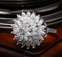 Brand New Platinum plated AAA Swiss zirconblossom flower exaggerated jewelry rings Fashion women state jewelry