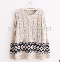 free shipping wholesale 2014 new Korean Plaid lady's coat  sweet Personality word led long sleeves hemp flowers sweater
