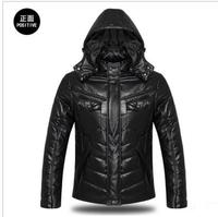 New arrival !! 2014 New Fashion Men's leather jacket men down jacket Large size leisure men's winter jacket Free shipping
