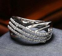 Brand New Platinum plated AAA Swiss zircon three row Korean style jewelry rings Fashion women state jewelry