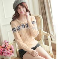 free shipping wholesale  2014 new Korean fashion  stripe long sleeve snowflake sweater