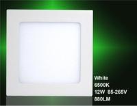 12W AC85-265V 880LM 6500K White Square LED Panel Light (White)