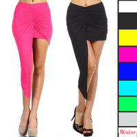 S M L Women Low Waist Asymmetri Skirts Hot Sexy Package Hip Beach Long Skirt 8 Colors Free Shipping