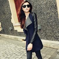 2014 Autumn New Women's Fashion Wool Coat Turn-down Collar Leather Sleeve Splicing Slim Long Coats S-XL Casual Overcoats C556A0S