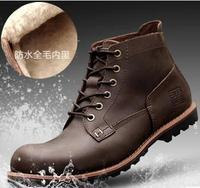44 43 42 38 5 Men Winter Boots Boys Genuine Leather Boots Crazy Horse Plus Size Plus Plush Waterproof Rain Boots Male Warm Boots