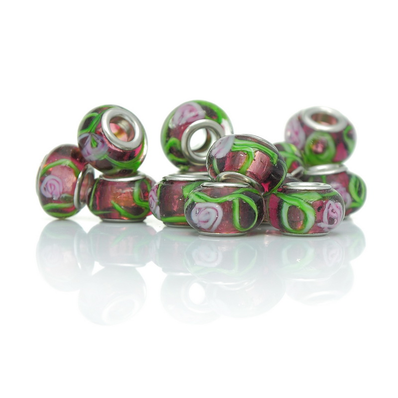 2014 New Arrival 10PCs Purple Lampwork Beads Fit Charm Bracelets Flower Leaf Pattern(China (Mainland))