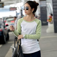 Brief Mixed Color Long Sleeve Cotton Tees Street Casual Sport Style Slim Waist Cheap Bottoming Tops Mujer Ropa 7700
