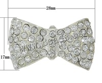Free shipping!!!Rhinestone Zinc Alloy Beads,Korean, Bowknot, platinum color plated, with rhinestone & 1/1 loop, nickel