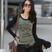 Woman Cheap Clothing 2014 Letter Partten Bodycon Long Sleeve T-Shirt Unique Design Irregular Hem Sport Tops Coqueiro 1107