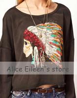 2014 new Indian Printed Women Hoodie Printed Sweatshirt Women Coat Sweatshirt Hooded Outerwear Tops Pullover Spring Autumn
