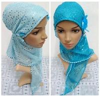 Beautiful Muslim hijab islamic scarf with flower 2014 latest fashion Multicolored Optional Women Muslim Scarves Islamic hijab