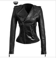 Spring 2014 new brand women's clothing leather jacket women slim Fashion Casual leather coat shoulder flash Motorcycle jackets