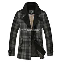 2014New Men Wool Overcoat Jacket  Man Fashion Upscale Woolen Outwear Winter Men Warm Coat Casual Men's Slim Fit Wool Blends Coat