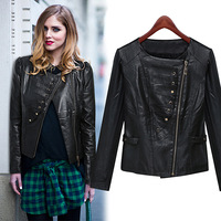 2014 autumn  European and American locomotive PU Slim long-sleeved  Pilar chain jacket