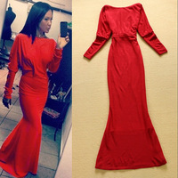 New Fashion 2014 High Quality Trumpet/Mermaid  Full Sleeve Knitting (Front)O-neck(Back V -Neck) Maxi Dress Floor Dress