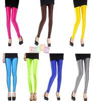Candy Color 2014 New Fashion Women Girls Autumn Winter Fluorescent Glow Stretch Shiny Slim Skinny Design Leggings Pants