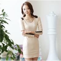 Hot Sale!! Women Winter Dress 2014 New Fashion Cotton Casual Dress Long Sleeve Autumn Evening Dresses 3XL Vestidos