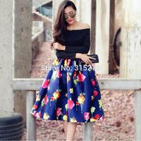 SEXY!!! OFF THE SHOULDER ball gown dress cute 2014 autumn winter new arrival plus size brand patchwork women girls dresses xxl