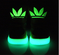 High help Kids glow in the dark shoes,26-36 size unisex boys and girls Hook & Loop sneaker hot selling flats free shipping