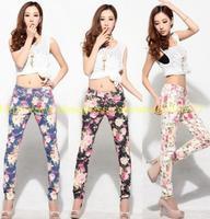 Free shipping women vintage Slim floral cotton jeans casual flower print hot skinny straight denim pencil pants XS- XXL