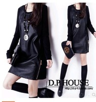 Hot Sale! 2014 New Fashion Women Winter Dress Casual Dress temperament splicing, backing Pu leather long-sleeved Dresses