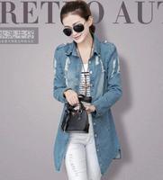 new 2014 winter women desigual coat outfit long Jeans coat Ladies Denim coat trench coat for women Outwear
