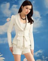 Good quality 2014 new autumn Fashion Jacket Blazer Women bow Suit Long Sleeves  Lapel office wear work clothing plus size