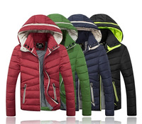 down-jacket 2014 new winter jacket men fashion pure color hooded coat men  warm cotton casual-jacket man outdoors clothing