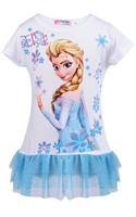 New Girl Vestidos Princess Frozen Dress Queen Elsa Anna Short Sleeve T-Shirt Casual Party Ball Gown Dress 2-11Y