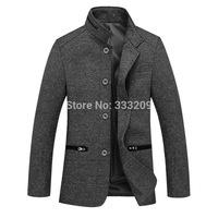 Slim Fit Men Woolen Trench Coat Men's Winter Warm Coats Man Upscale Wool Outwear Overcoat 2014New Men Business Casual Jacket Hot