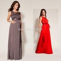 2014 Hot sell maternity clothing 3 colors back V-neck sleeveless lace top long design maternity dresses plus size maternity