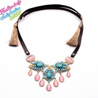Fashion New Arrival Statement Crystal Tassel Necklaces & pendant Good quality Luxury Vintage Women Wholesale Jewelry 3888