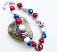 2pcs/lot Wholesale or Retail Captain America pendant bubble gum chunky beaded necklacet for kids jewelry decoration!!