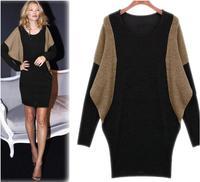 2014 New Desigual Women Winter Dress Casual Dress batwing sleeve dresses Knitted cotton clothing Bag Hip Dress