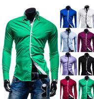 fashion 2014 new men shirt long sleeve casual dress shirts men clothes casual-shirt man slim fit pure color