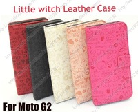 Wholesale Newest Style Little Witch Flip PU Leather Case Cover For Motorola Moto G2 XT1063 XT1068 XT1069