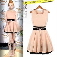 2014 european New Style Sweet Butterfly casual Dress charming chiffon mini party dress elegant patchwork slim Women summer dress