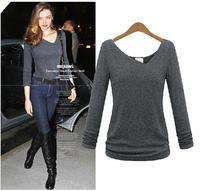 L~5XL Women Plus Size Long Sleeve V-neck Spring Autumn Basic T-shirt Discounted European Style Stretchy Cotton Irregular T-shirt