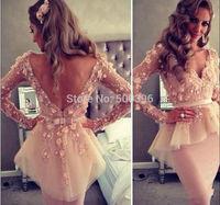 Blush Pink V-neck Cocktail Dress Long Sleeves Lace Flowers Short Party Dress Backless Cocktail Dresses