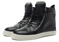 Men women ankle boots flats giuseppe zanotty designer gz brand zip high-cut shoes good quality genuine leather black 36-46