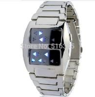 2014 New Fashion Full Steel Led Watch Digital Men Sport Watches Men Military Watches Metal LED Faceless Bracelet Wristwatch Men
