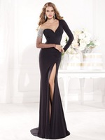 Floor Length Gown V Neck Black Long Sleeve Evening Dress 2014 Formal vestido de festa longo formatura fiesta Tarik Ediz
