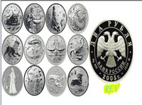 2014 new design 12pcs/lo with the signs of the Zodiac Year 2005 12 constellation silver Plated 2 Ruble Russian Copy coins